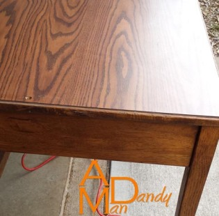 This is the solid oak secondhand desk that now holds my sewing machine